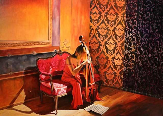 © Pedro Baos | Mujer de rojo con Violoncello | Galería Montsequí | exposición 2015 | arte a un click | A1CExpos