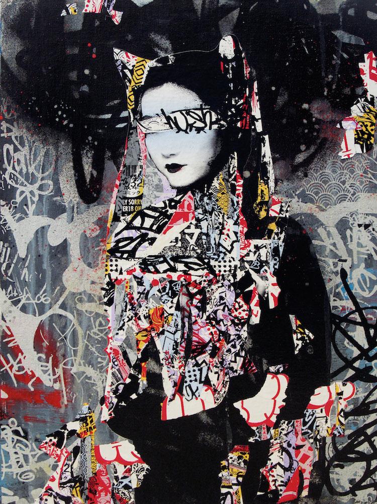 © Hush | street art | ilustración | pintura | collage | Arte a un Click | A1CGalería