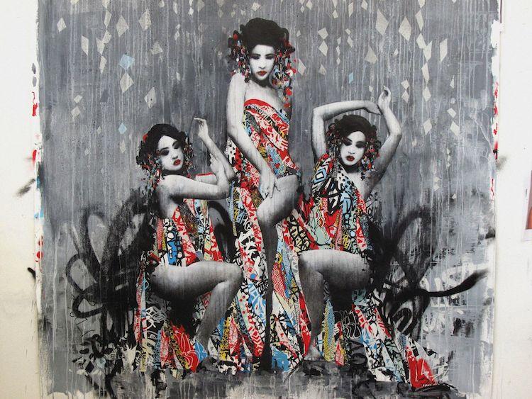© Hush   street art   ilustración   pintura   collage   Arte a un Click   A1CGalería