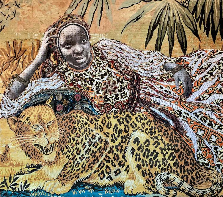 Art Madrid   ARTE A UN CLICK   SEMANA DEL ARTE Out Of África Gallery_Marion Boehm_Leopard Girl_Técnica mixta y collage_139x150_2019